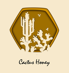 honey bees and prickly pear cactus vector image