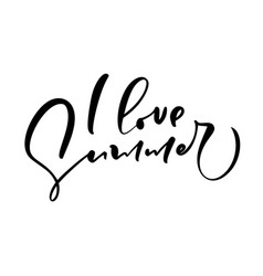 i love summer hand drawn lettering calligraphy vector image