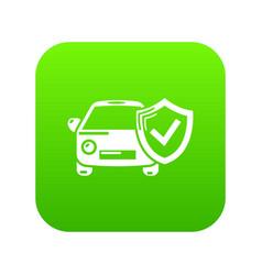 insurance car icon green vector image