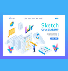 Isometric sketch project development and design vector