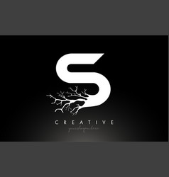 Letter s design logo with creative tree branch s vector