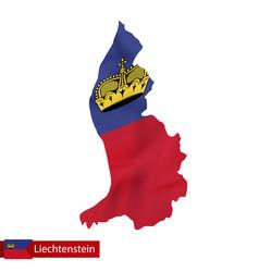 Liechtenstein map with waving flag of vector