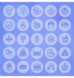 Line Circle Baby and Child Icons Set vector