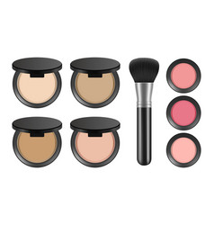 Makeup powder realistic blush and brush isolated vector