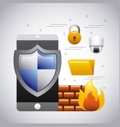 Mobile phone protection firewall folder security vector