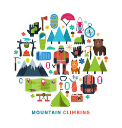 mountain tourism icons flat vector image