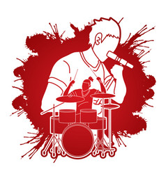 musician singing and playing drum music band vector image
