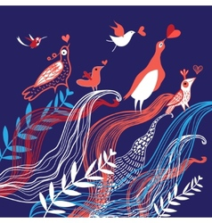 Natural background with birds in love vector image