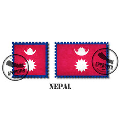 Nepal or nepalese flag pattern postage stamp vector