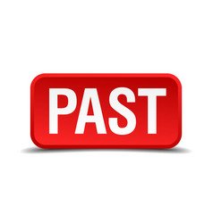 past red 3d square button isolated on white vector image