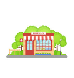 Pharmacy store front in flat design vector