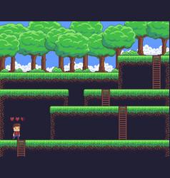 Pixel art scene vector