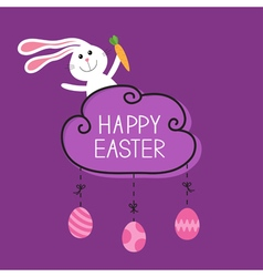Rabbit hare bunny carrot Happy Easter Cloud frame vector image