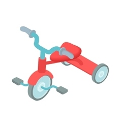 Red kid tricycle icon cartoon style vector