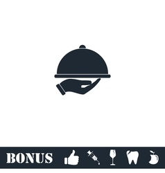 Restaurant cloche in hand icon flat vector
