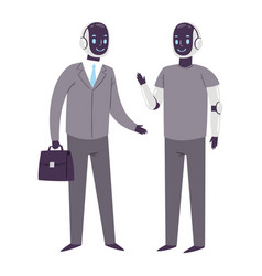 robot humanoid business people futuristic vector image