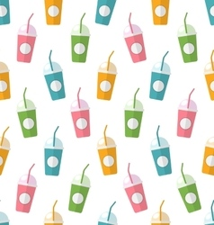 Seamless Pattern with Colorful Set of Milkshakes vector image