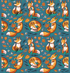 Seamless pattern with cute foxes in autumn leaves vector