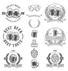 Set labels templates with beer mug isolated on vector