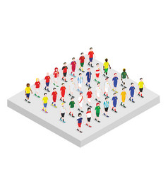 set of isometric football players vector image