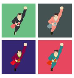 Set of superhero cartoon icon with superman vector