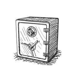 sketch of hand drawn safe 3d icon vector image