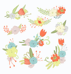 Spring flowers set isolated on a white vector