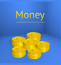 stacks of gold coins business template for design vector image