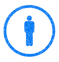 Standing person pose rounded grainy icon vector
