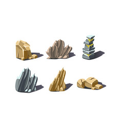 stones various shapes set rocks and boulders vector image