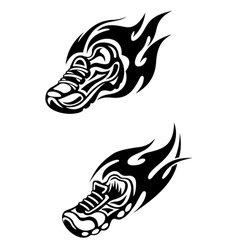 Trainers with tribal flames vector image