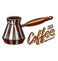 Turk for brewing coffee in vintage style hand vector
