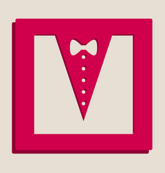 Tuxedo with bow silhouette grayscale vector