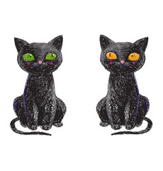 two hand drawn cute black witch cats isolated on vector image