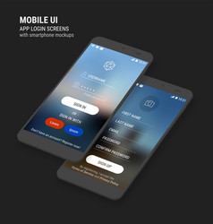 Ui sign in and sign up screens and 3d smartphone vector