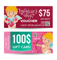 valentine s day voucher design horizontal vector image