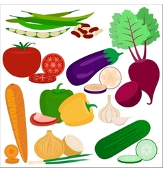 Vegetables flat icons vector image