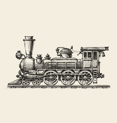 Vintage locomotive hand-drawn retro train sketch vector