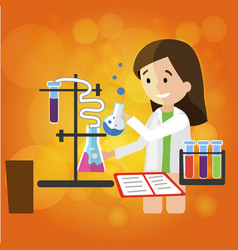 Young smiling girl chemist does research in lab vector