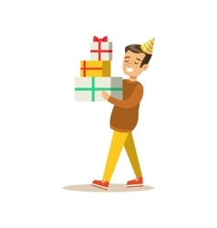 Boy Carrying Piled Presents Kids Birthday Party vector image vector image