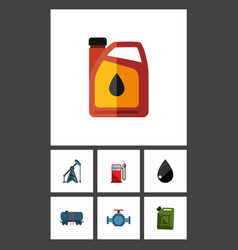 flat icon fuel set of container petrol rig and vector image vector image