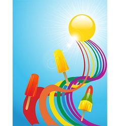 Ice lollies and coloured ribbons and sunny vector image vector image
