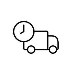 line fast delivery truck icon on white background vector image vector image