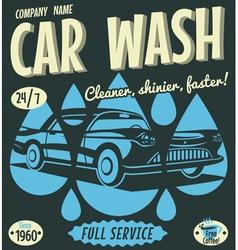 Retro car wash sign vector image