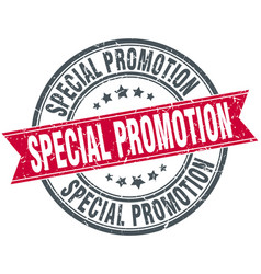 special promotion round grunge ribbon stamp vector image vector image