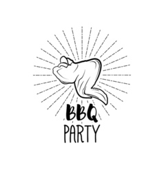 Bbq party badge chicken wing grill label isolated vector