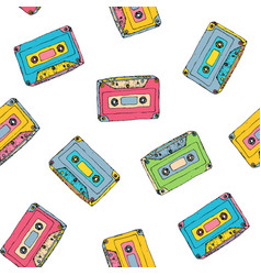 seamless pattern with plastic cassette music vector image