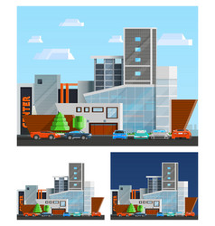 Shopping Mall Building Compositions Set vector image vector image