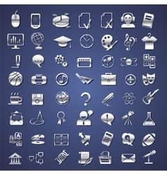 Silver school college education icons vector