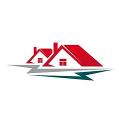Two residential houses symbol vector image
